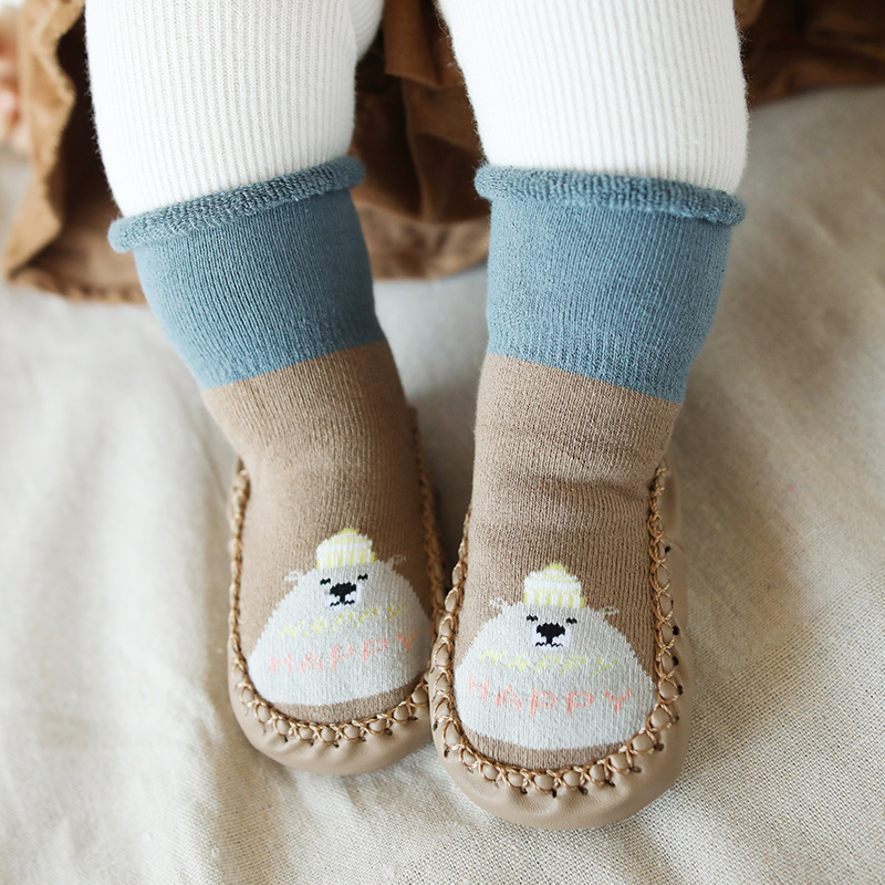 Socks Baby Indoor Sock Shoes Rubber Soles Toddler Winter Warm Socks Bebe Newborn Sock Knit Shoes Infant Home Slippers Boy Baby