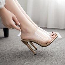 Сандалии женские на высоком каблуке прозрачные босоножки повседневная
