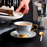 300ml Nordic Marble ceramics Coffee cup and saucer set pink blue grey English afternoon teacup