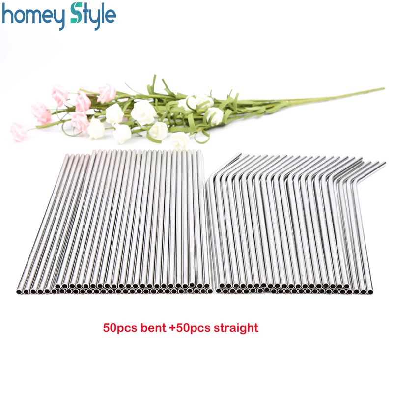Wholessale 100pcs lot Metal Straws Reusable High Quality 304 Stainless Steel Drinking Tubule 267mm 6mm E