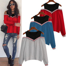 European style elegant cold shoulder patchwork woman sweatshirt spring and autumn long sleeve female new