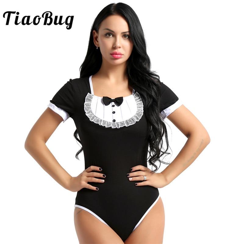 TiaoBug New Women Short Sleeve Lace Trim Snap Crotch Cute Bodysuit Soft Cotton Adult One-piece Romper Sexy Maid Costume   Jumpsuit