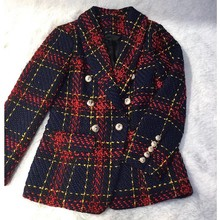 2019 Euramerican New Fashion Popular Line And Plaid Knitting Weaving Full Sleeve Polyester Double Breasted High Quality Blazers