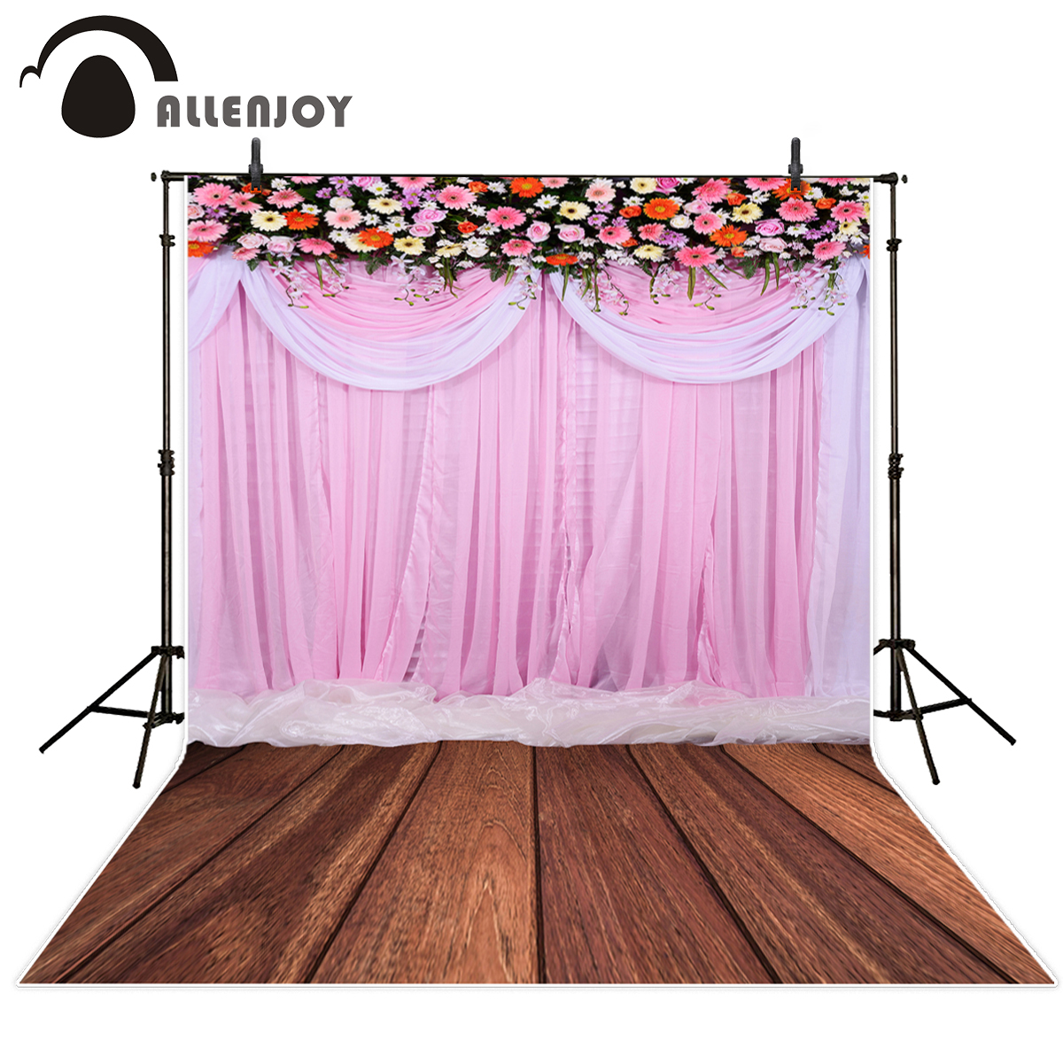 Allenjoy photography backdrops pink flower wood wedding yarn romantic photo background vinyl Fund for newborn photography studio allenjoy photography backdrops pink curtains stripes birthday background customize photo booth for a photo shoot vinyl backdrops