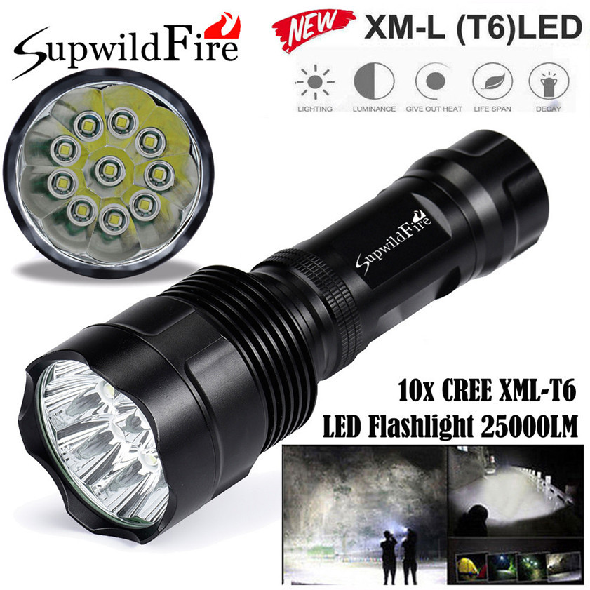 Super Bright 25000Lm 10x CREE XML T6 LED 5Mode 18650 Flashlight Torch Light Lamp 170509 super bright 11000 lumen 9 x cree xml t6 led torch 5 mode flashlight with extendable arm powered by 18650 rechargeable battery