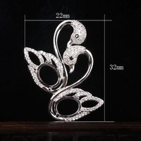 7x9mm Oval Cabochon Sterling Silver 925 Pendant for Women Semi Mount Pendant Crystal Fine Jewelry White Gold Color Swan