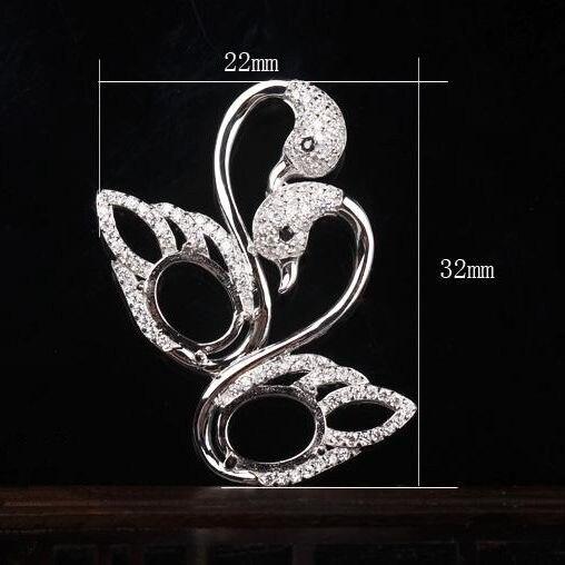 7x9mm Ovale Cabochon Sterling Argent 925 Pendentif pour Femmes Semi Pendant Mount Cristal Beaux Bijoux Or Blanc couleur Cygne