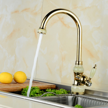 European natural jade and gold kitchen faucet hot and cold vegetables basin rotating taps all copper antique basin faucet