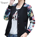 TANGNEST Women Baseball Jacket 2017 Plus Size S-3XL Casual Women Spring Autumn Flower Floral Print Patchwork Coats WWJ305