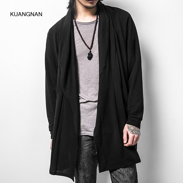 fc659371ad96 Men Trench Coat Long Thin Casual Cardigan Jacket Cotton Male Fashion Long  Sleeve Loose Outerwear Trench