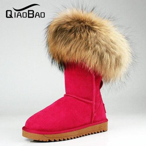 QIAOBAO 100% bolso de Cuero de Vaca zapatos de cuero botas de Mujer botas de nieve del invierno de Arranque de piel de Mapache