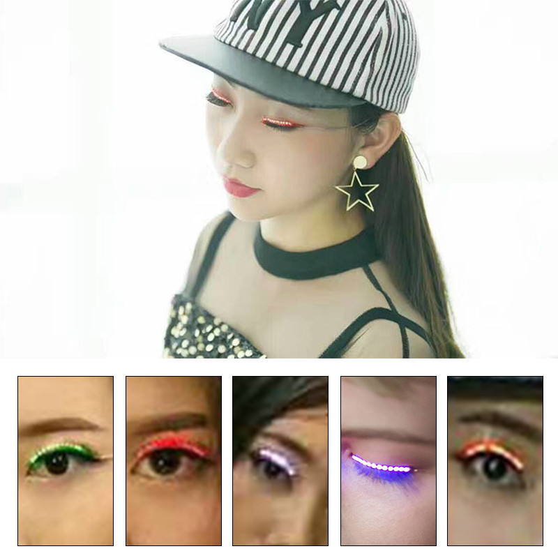 LED False Eyelashes Salon Pub Club Bar Party Players Eyelidtape Electronic Eyelid Glowing Fake Eyelashes Icon Performance 1 pair