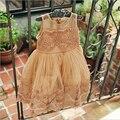 2016 девушки летние платья корейский детская мода кружева тюль принцесса бальные платья дизайнерский бренд детская одежда 2-6y