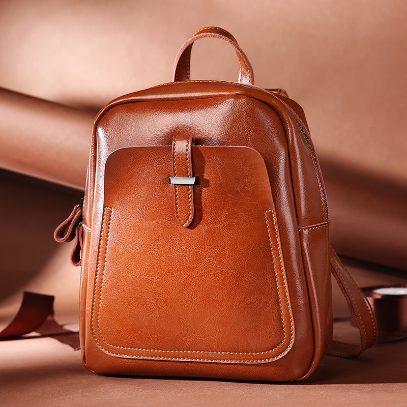 Luxury Natural Oil Wax Cow Leather Women Backpack Casual Student's School Bag Fashion Genuine Leather Small Women's Travel Bag luxury oil wax genuine cow leather women backpack small women s travel bags multifunction korean fashion women shoulder bags