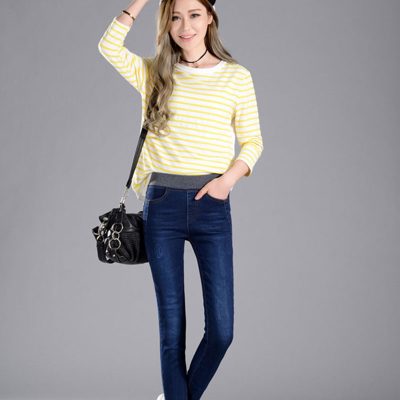 Women's Jeans New Female Casual Elastic Waist Stretch Jeans Plus Size 38 Slim Denim Long Pencil Pants Lady Trousers #2
