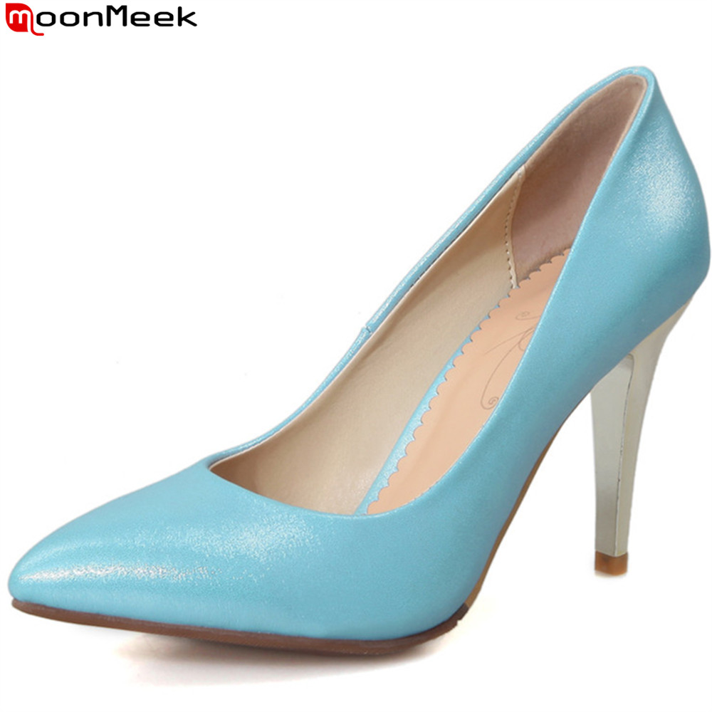 MoonMeek white blue pink fashion spring autumn women shoes pointed toe ladies pumps super high heels shoes shallow big size spring autumn shoes woman pointed toe metal buckle shallow 11 plus size thick heels shoes sexy career super high heel shoes
