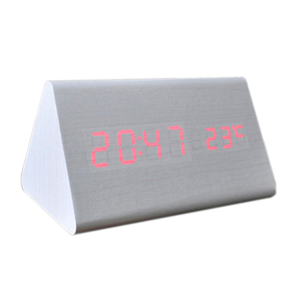 Voice Control Calendar Thermometere Wood Wooden LED Digital Alarm Clock USB/AAA White Wood Red LED