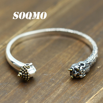 SOQMO Men's Bangles Buddha Defeated The Devil 100% Real 925 Sterling Silver Jewelry Punk Opening Couple Bangles SQM211