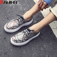 ASUMER big size 34 43 fashion spring new shoes woman flat platform round toe lace up genuine leather shoes Casual falts women
