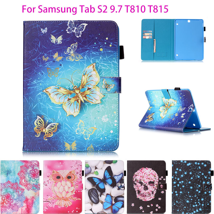 Tab S2 9.7 inch PU Leather Case For Samsung Galaxy Tab S2 9.7 T810 T815 Case Cover Tablet Fashion Butterfly Pattern Shell Funda kinston beautiful moth pattern pu leather full body case for samsung galaxy s5 deep pink white