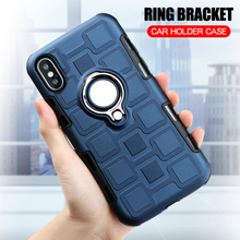 Cover For iPhone X XS XR XS Max Silicone Shockproof Phone Case For iPhone XR XS Max Luxury Armor Anti-Fall Cover Ring Stand Case luxury phone case for iphone x xr xs max cover armor shockproof plating tpu pc glass mirror back cover for iphone xr xs max case