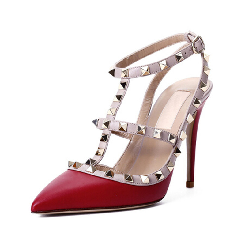 2018 Top Quality Fashion Classic Style Women's High Heel Rivet Metal Decorative 10cm High Heel Shoes with A Pair of Sandals мини колонки a pair of 20 bose