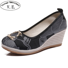 Vintage Embroidery Wedges Shoes For Women Mix Color Cloth High Heel Shoes  Chinese Style Ethnic Casual a43c7462c671