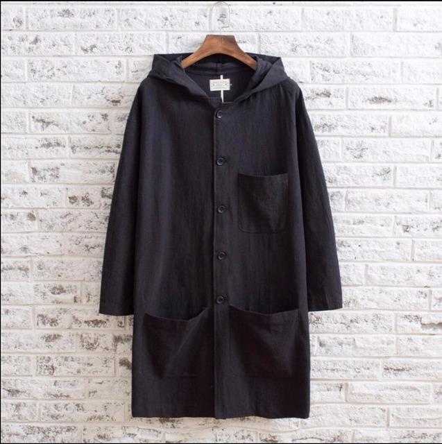 M-5XL New Homens de linho Com Capuz longo trincheira solto outerwear estilo chinês do vintage longo trench coats moda roupas Confortáveis