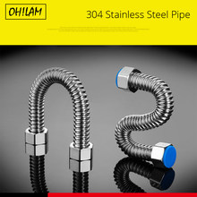 "304 Stainless Steel Basin&Toilet Water Pipe Bellows Tube 1/2"" Plumbing Hot&Cold Hose Bathroom Heater Connector Corrugated Pipes(China)"