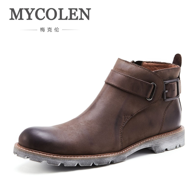 MYCOLEN New Genuine Nubuck Leather Men Winter Boots Fashion Ankle Boots Brown Male Casual Martin Boots Male Winter Shoes цена