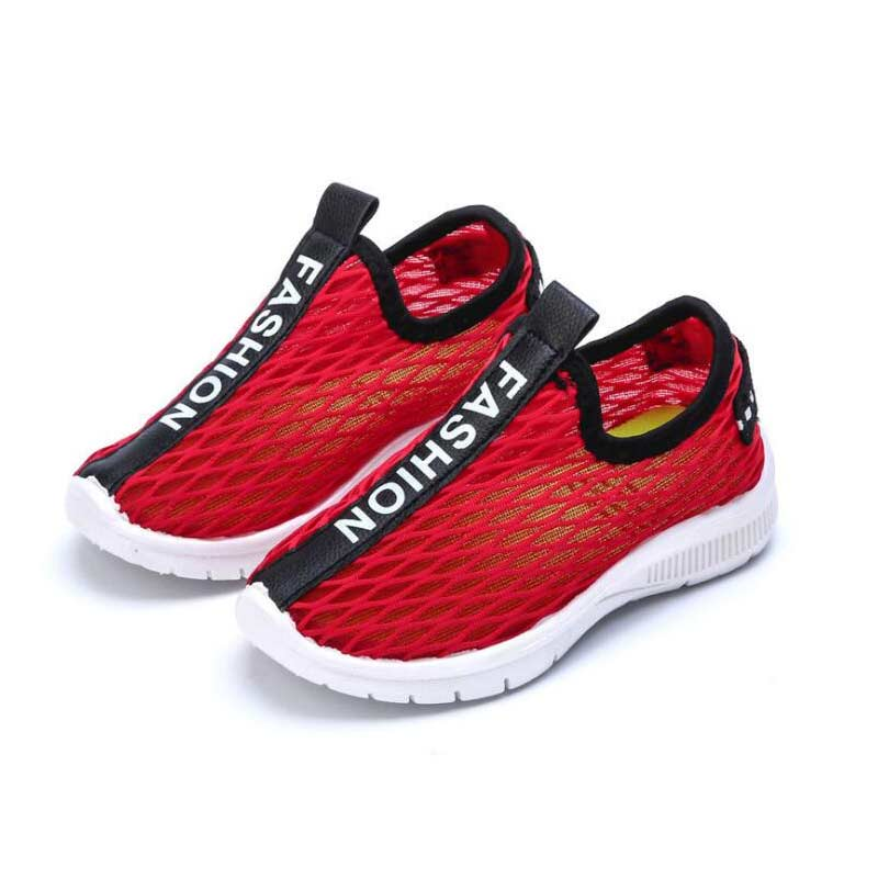 Child Shoe Unisex Boys Girls Fashion Letter Hollow Mesh Cloth Shoes Kids Anti Slip Soft Bottom Children School Shoe #35