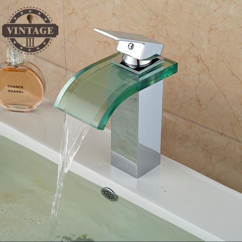 Двухслойные креплением Стекло Водопад бассейне кран Одной ручкой площади свет Ванная комната раковина смесители воды