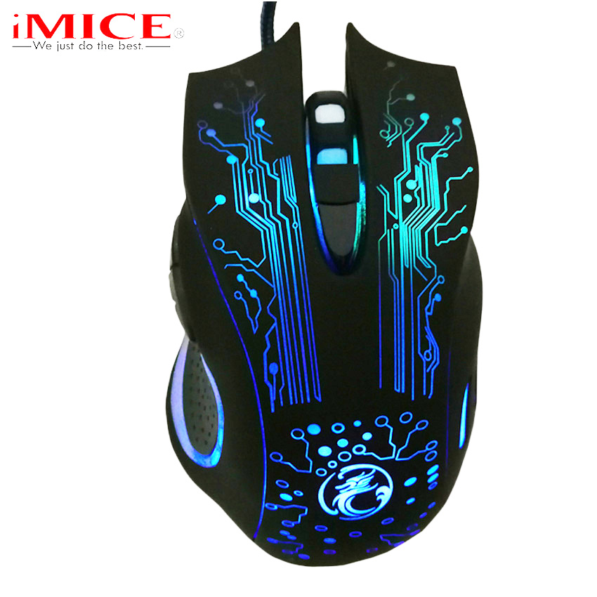 iMice USB Wired Gaming Mouse Ergonomisk LED Bakgrundsbelysning Optisk Mus Gamer Kabel Möss för PC Dator Laptop för CS GO LOL Dota X9