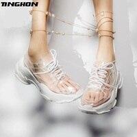 TINGHON/летние прозрачные женские кроссовки из ПВХ; женская прозрачная обувь на платформе со шнуровкой; женская модная повседневная обувь; жен