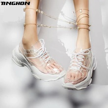 TINGHON Summer Transparent Pvc Trend Women Sneakers Ladies Lace-Up Platform Jelly Shoes Woman Fashion Casual