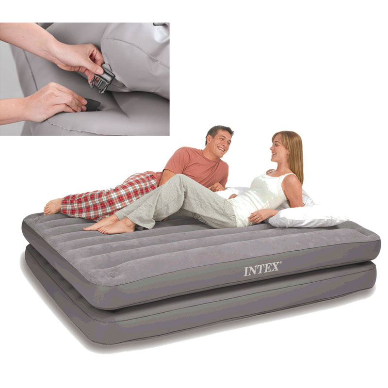 INTEX 67744 152*203*46CM Striped Double Layer Separable Air Bed Inflatable Mat Sleeping Pad Picnic Mat With Electric Pump