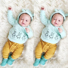 Cute Newborn Baby Girl Boy Clothes Deer Pig Tops Hoodies Long Sleeve + Pants Casual Hat Cap 3pcs Outfits Set Autumn Warm Winter