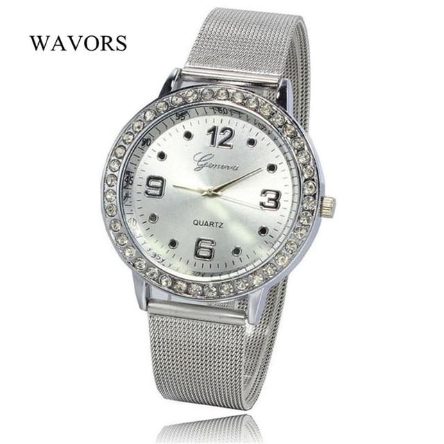 Fashion Silver Stainless Steel Watch Women Ladies Quartz Wristwatch Luxury Rhinestone Analog Bracelet Watches relogio feminino