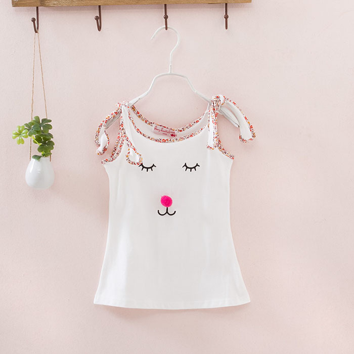 New smiley three-dimensional kitten girl garden floral cotton tunic