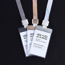 Купить онлайн Прозрачный акриловый Пластик с металлической ID IC карты знак держатель Pass Карта + красочные полиэстер талреп с Аль сплава пряжки