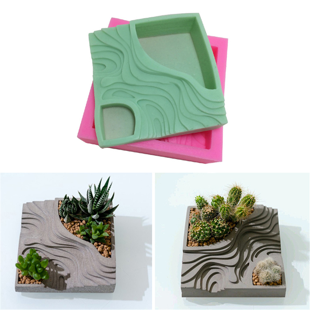 Silicone Mold Cement Molds Terraces Concrete Terraced Fields Muti-meat Flower Planter Mould For Home Decorations