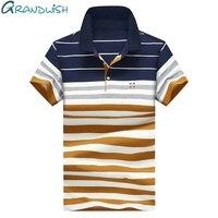 Grandwishポロシャツ男性4xlスリムフィットメンズカジュアルポロシャツレター刺繍夏ポロシャツ男性