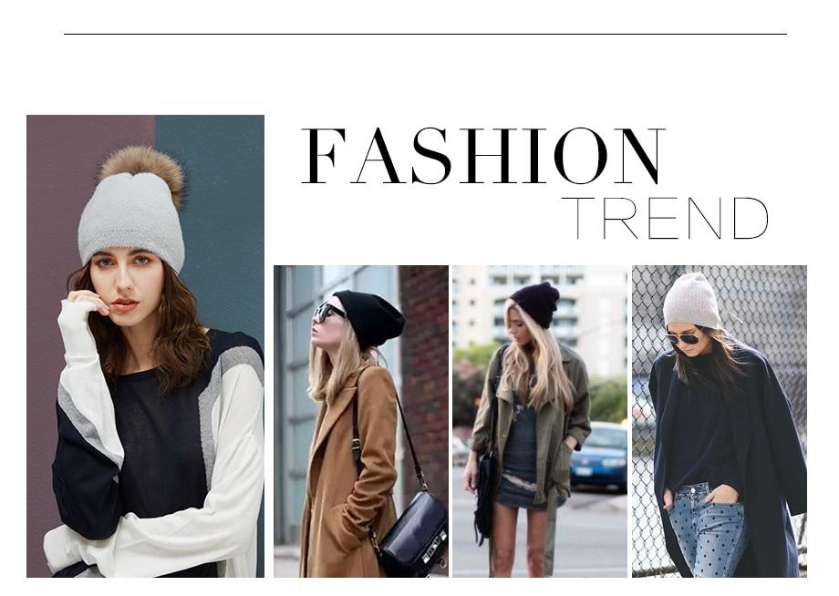 Hat Female Raccoon Hair Ball Beanies Winter Warm Wool Bonnet Pompom Beanies 2018 Fashion Russia Knitted Skullies Cap For Girls (3)