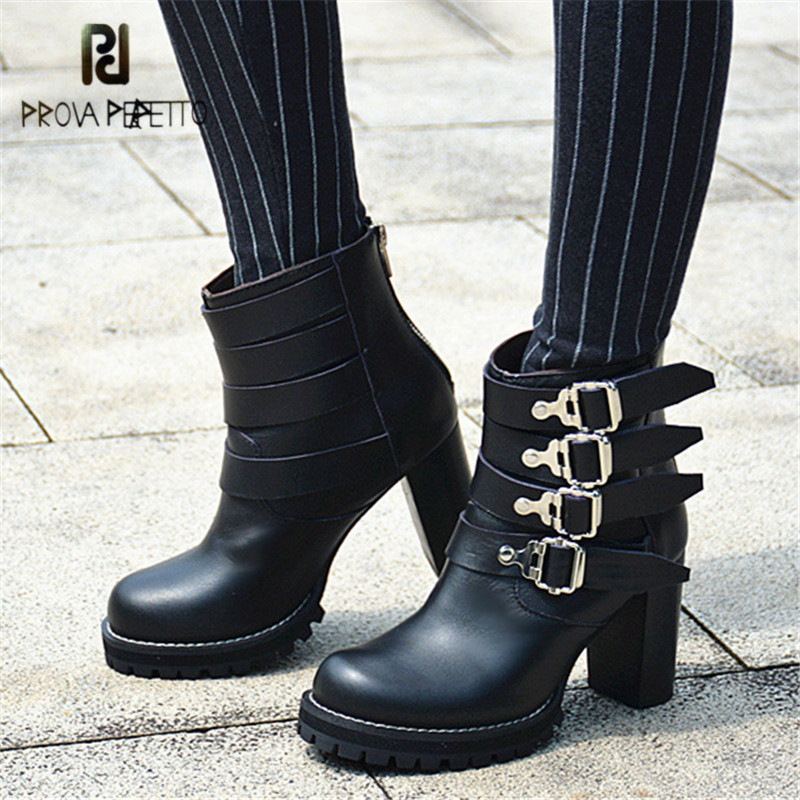 Prova Perfetto Black Ankle Boots for Women Genuine Leather Straps Platform Rubber Shoes Woman High Heels Women Pumps Botas Mujer