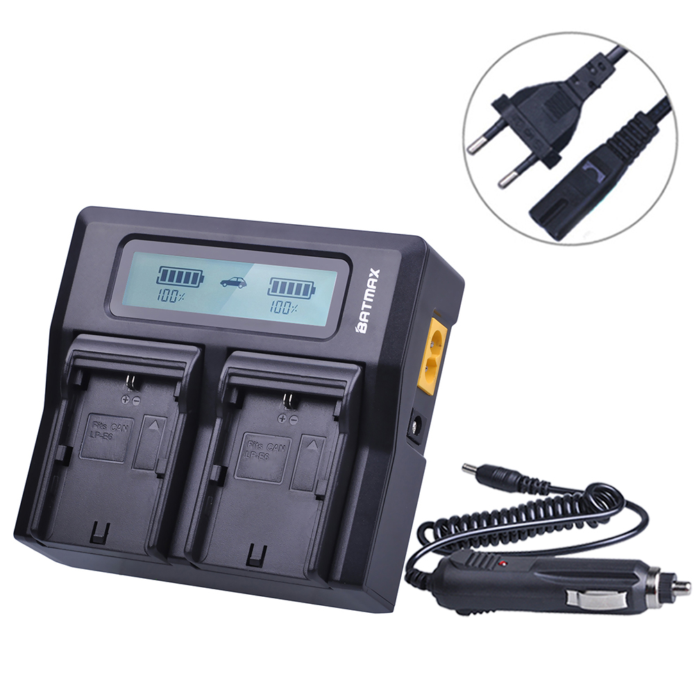 Batmax LP-E6 LP-E6N LCD Rapid Dual Charger for CANON DSLR EOS 60D 5D3 7D 6D 70D 5D Mark II III SLR and Canon LC-E6