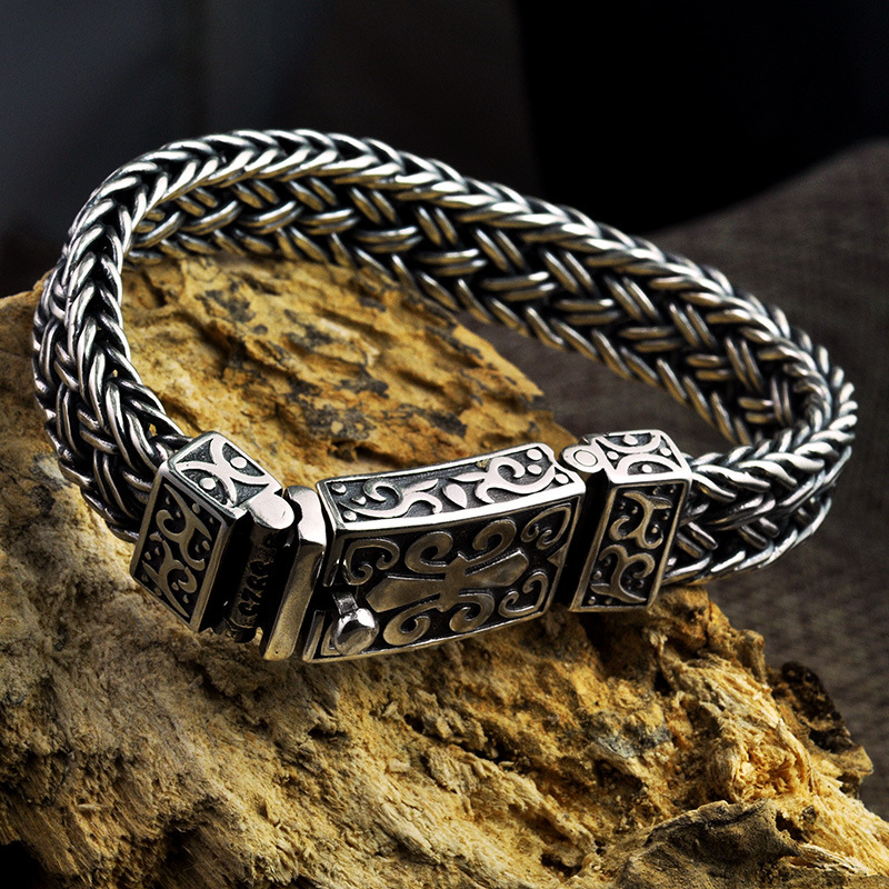 Image 2 - Real 925 Sterling Silver Bracelet Men's and Women's Wide 11mm Retro Punk Rock Wire Chain Chain and Bracelet Thai Silver Jewelry-in Charm Bracelets from Jewelry & Accessories