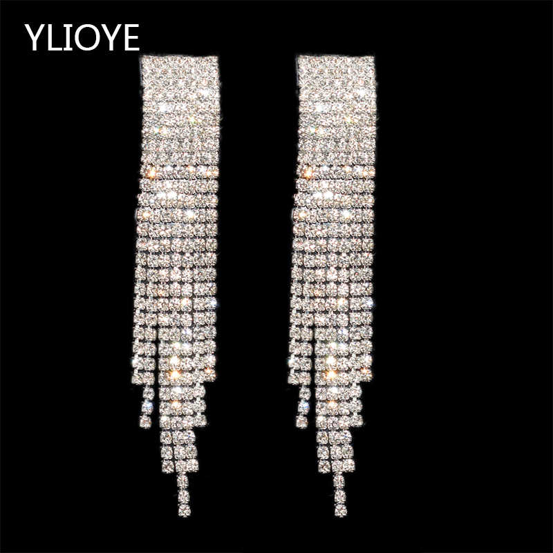 YLIOYE Fashion luxurious Crystal Earrings AB drill Rhinestone long Drop Earrings For Woman Girl Gifts wedding Jewelry Wholesale