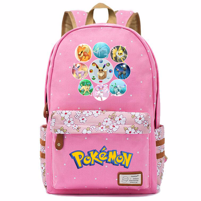 Anime Game Eevee Evolve Flareon Jolteon Flower Dot Boy Girl School bag Women Bagpack Teenagers Schoolbags Canvas Femme Backpack9 image