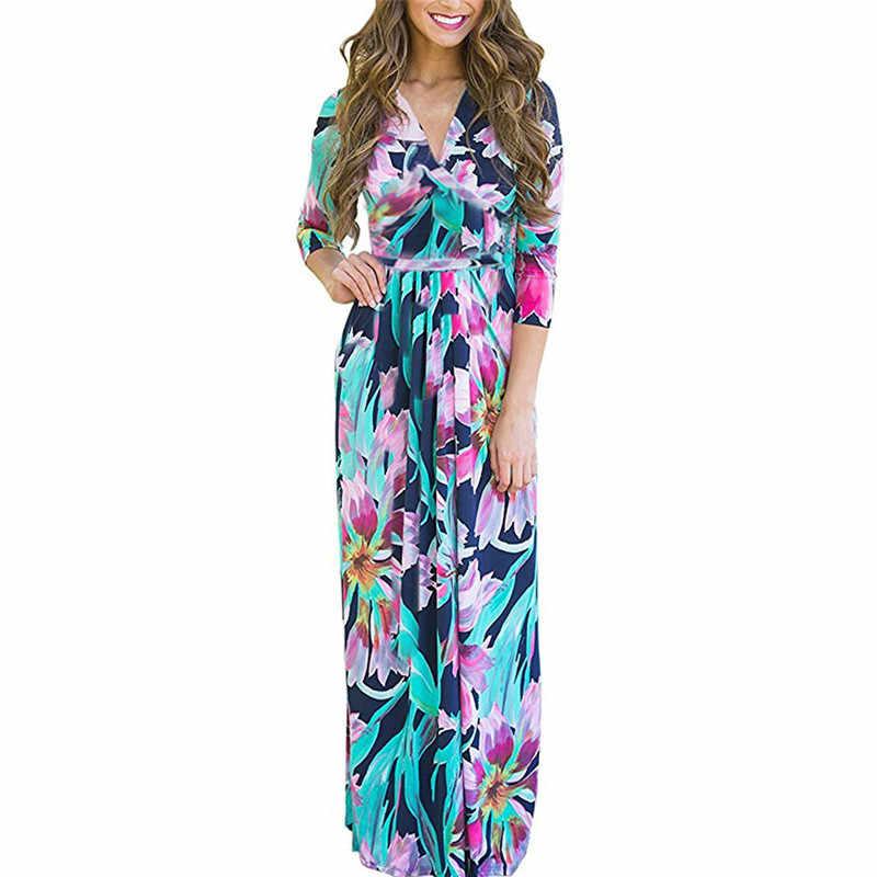 2019 Лето Осень женское длинное платье с цветочным принтом сексуальный элегантный бодикон, повязка вечерние платья туника бохо платье макси-длины