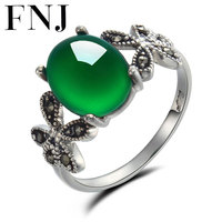 GZ 100 S925 Solid Thai Silver Green Stone Ring New Fine Jewelry Pure 925 Sterling Silver